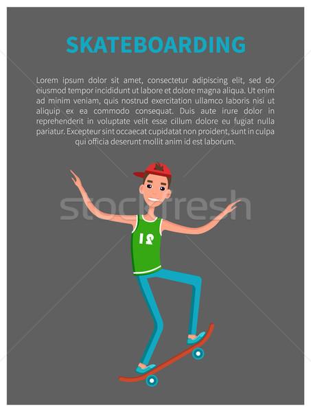 Skateboarding cartaz patinar esportes Foto stock © robuart