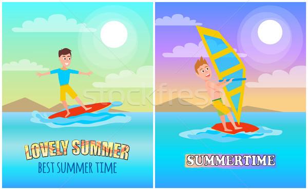 Verão banners conjunto verão esportes cartaz Foto stock © robuart