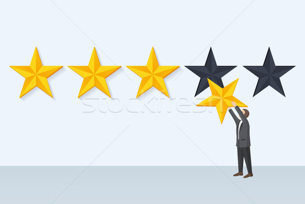 Businessman Holds Star Fixing Vector Illustration Stock photo © robuart