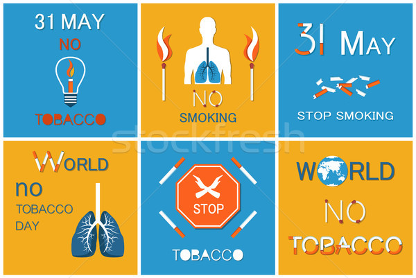 World no Smoking Day on 31 May Vector Posters Set Stock photo © robuart