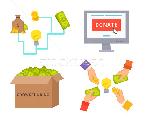 Crowdfunding and Donate Set Vector Illustration Stock photo © robuart