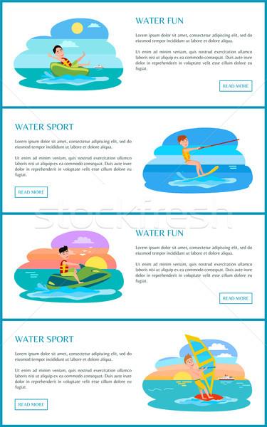 água verão atividades conjunto pôsteres rosquinha Foto stock © robuart