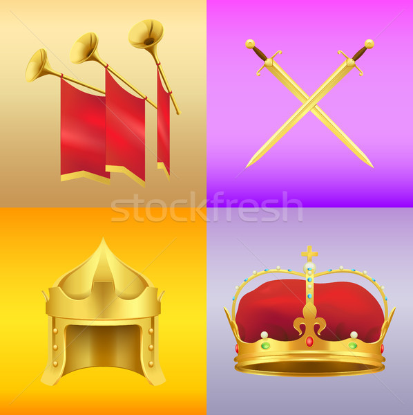 Dourado medieval símbolos realista vetor Foto stock © robuart