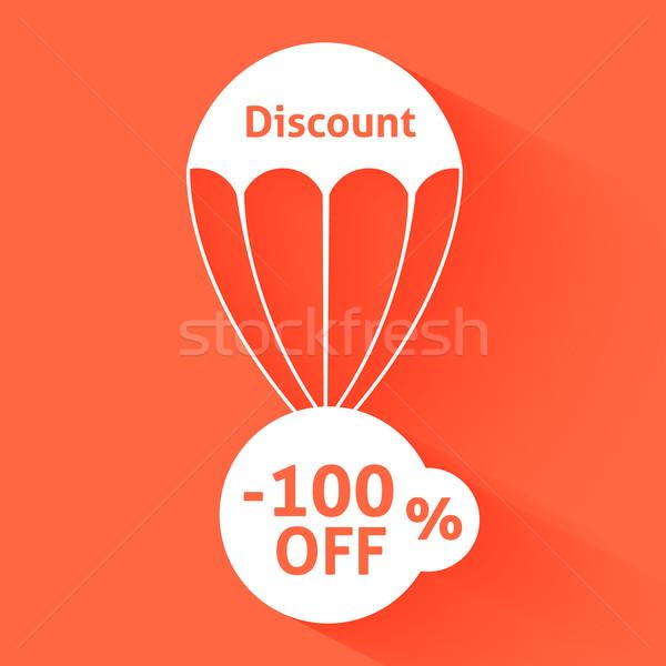 Stockfoto: Korting · parachute · tekst · maat · business · teken