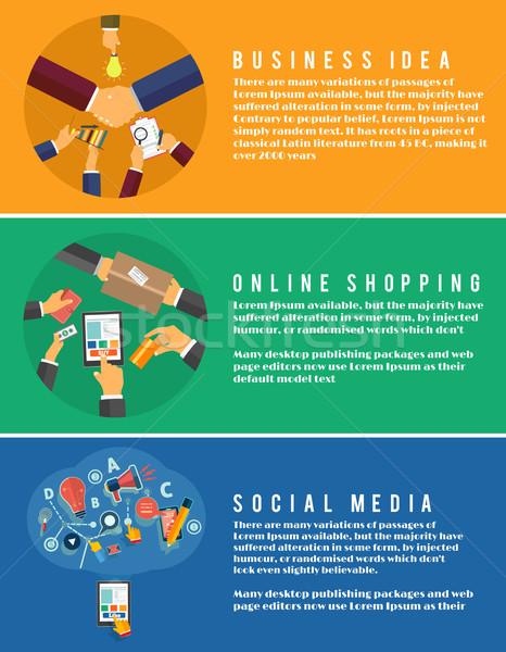 Stockfoto: Iconen · online · winkelen · idee · social · media · ingesteld · web