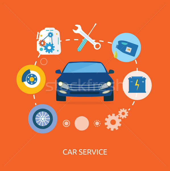Auto mechanic service flat icons of maintenance car repair Stock photo © robuart