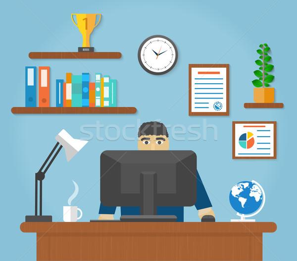 человека сидят Председатель таблице Компьютерный монитор Сток-фото © robuart
