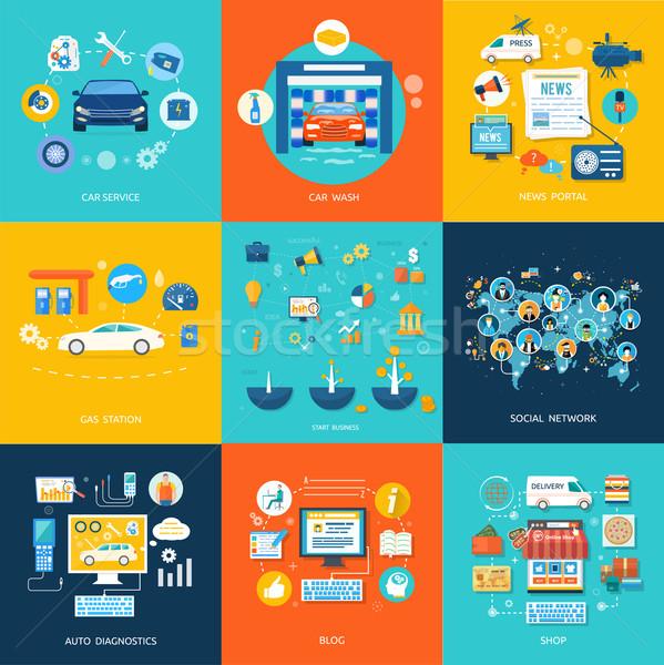 Car service car wash social media online shop Stock photo © robuart