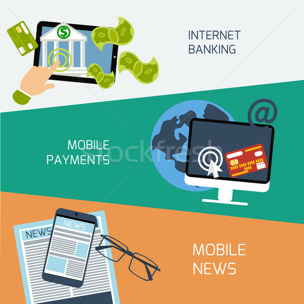 Mobile news, payments and internet banking concept Stock photo © robuart