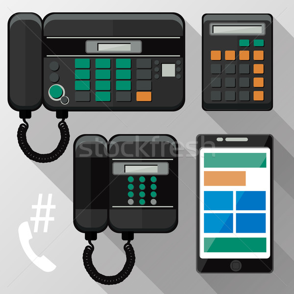 Cellphones, landline phone and smartphone Stock photo © robuart
