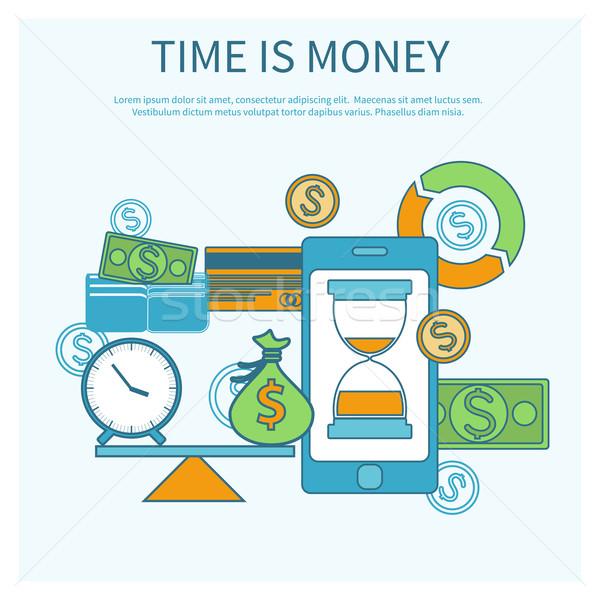 Tijd is geld smartphone schalen iconen glas zand Stockfoto © robuart