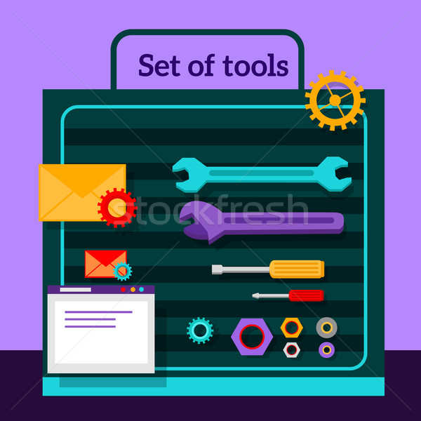 Set of Tools for Seo Flat Design Stock photo © robuart