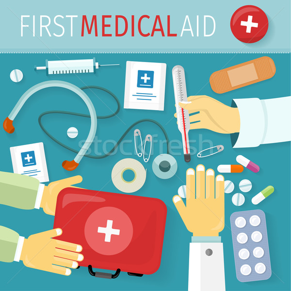 First Medical Aid Kit Design Flat Stock photo © robuart
