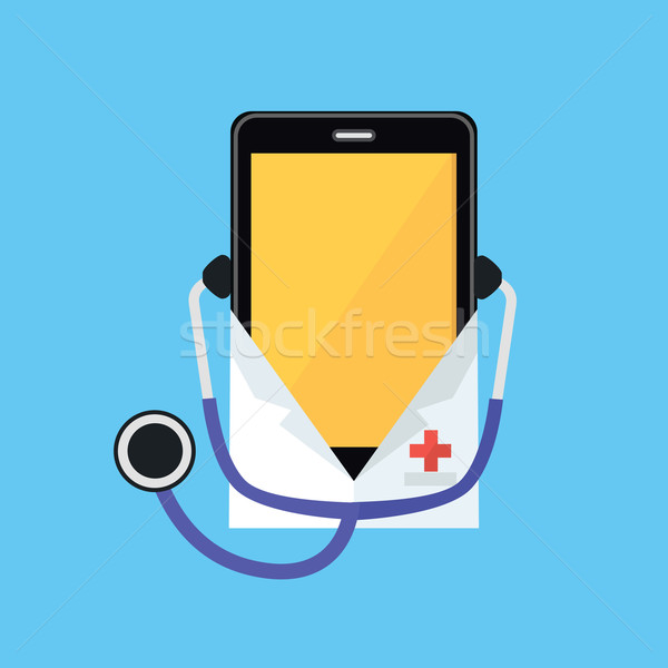 Phone in a White Coat and Stethoscope Stock photo © robuart