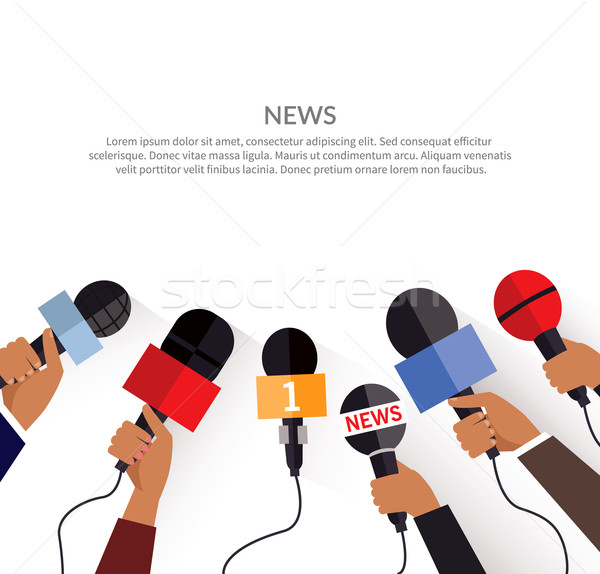 News Banner Template. Set of Microphone Stock photo © robuart