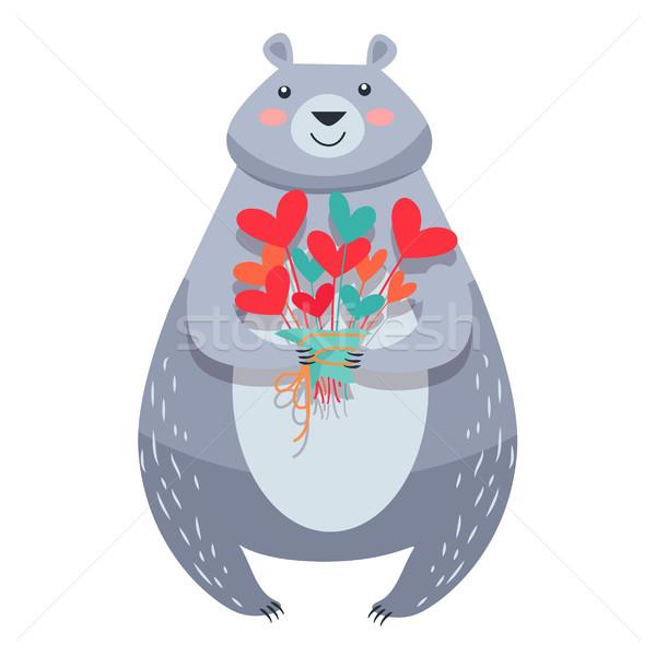 Stockfoto: Witte · beer · boeket · geïsoleerd · vector · bloemen
