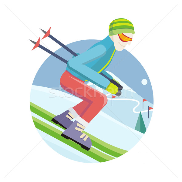 Skier on Slope Vector Illustration in Flat Design Stock photo © robuart