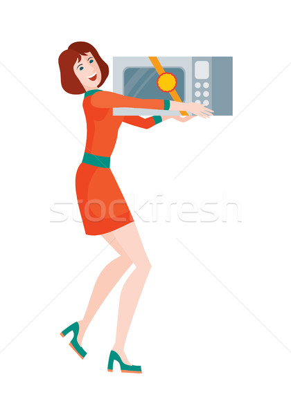 Woman Buys Microwave Oven. Sale on Discount Price Stock photo © robuart