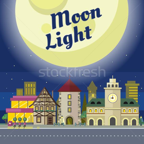 Hold fény városi város illusztráció éjszaka Stock fotó © robuart