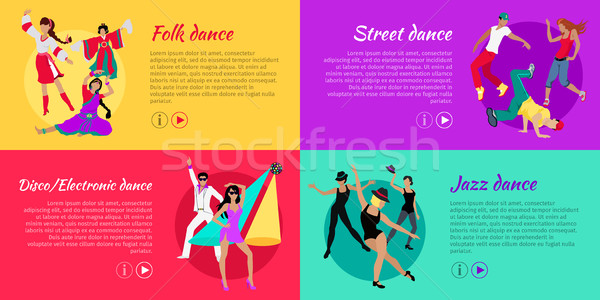 Stock photo: Set of Dancing Vector Web Banners in Flat Design