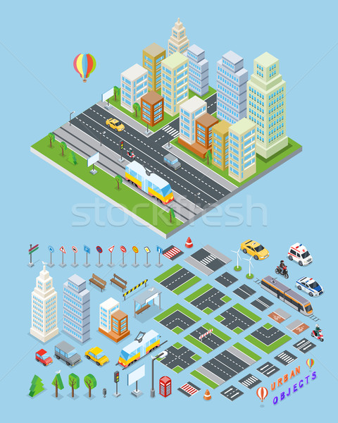 City landscape urban objects Illustrations.  Stock photo © robuart