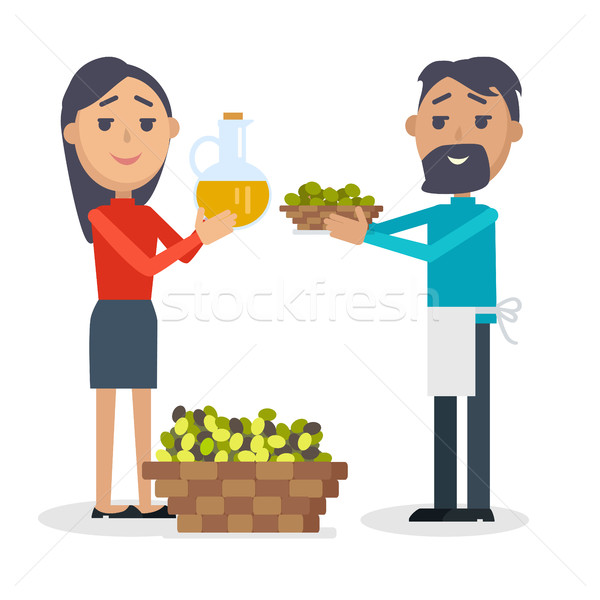 Woman with Bottle of Olive Oil, Man with Olives Stock photo © robuart