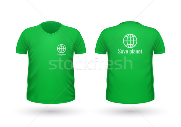 Save Planet T-shirt Front and Back View. Vector Stock photo © robuart