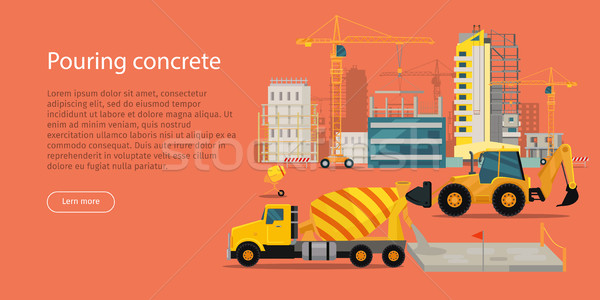 Process of Pouring Concrete Web Banner. Vector Stock photo © robuart