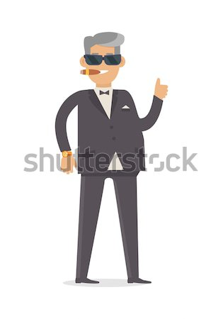 Rich Man in Expensive Suit Isolated on White. Vector Stock photo © robuart