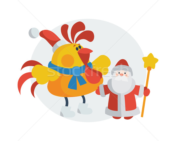 Rooster with Santa Claus Cartoon Flat Vector Icon Stock photo © robuart