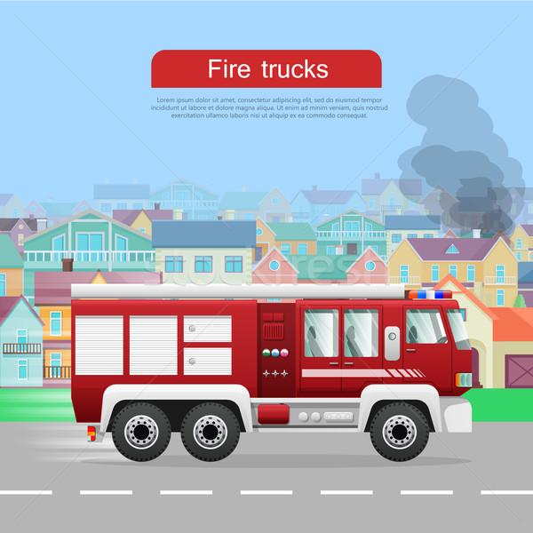 Tűz teherautók vektor háló szalag modern Stock fotó © robuart