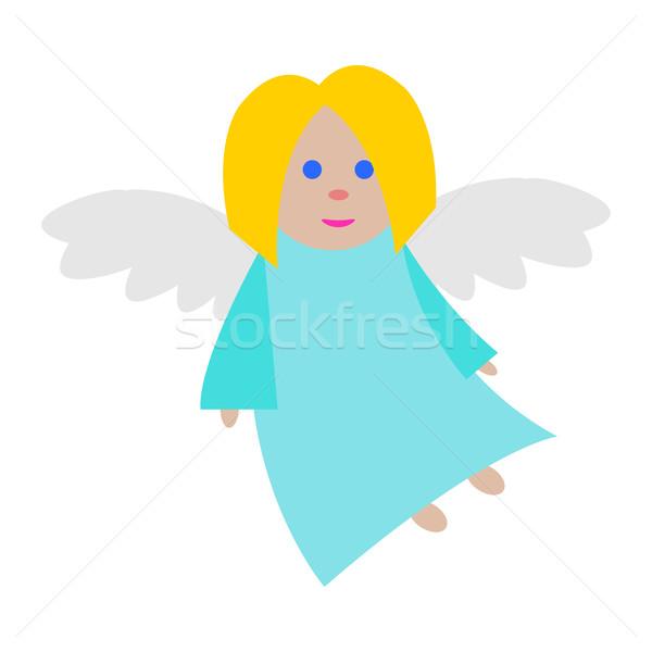 Natal anjo azul roupa branco longo Foto stock © robuart