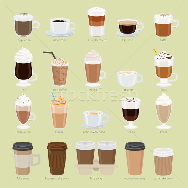 Set of Coffee Types and Packages. Coffee Menu Stock photo © robuart
