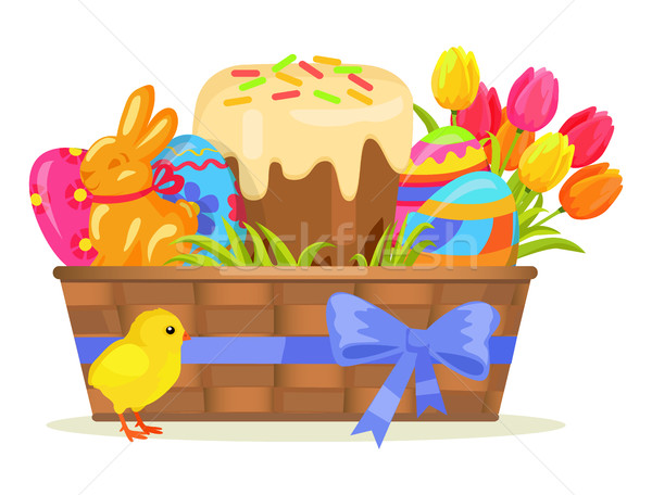 Sweet Cake, Chocolate Bunny, Color Eggs on Easter Stock photo © robuart