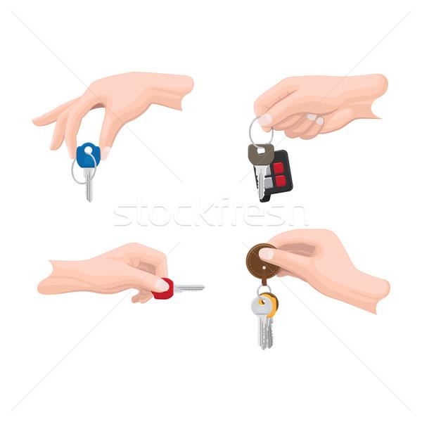 Kapılar araba anahtarları insan eller vektörler ayarlamak Stok fotoğraf © robuart