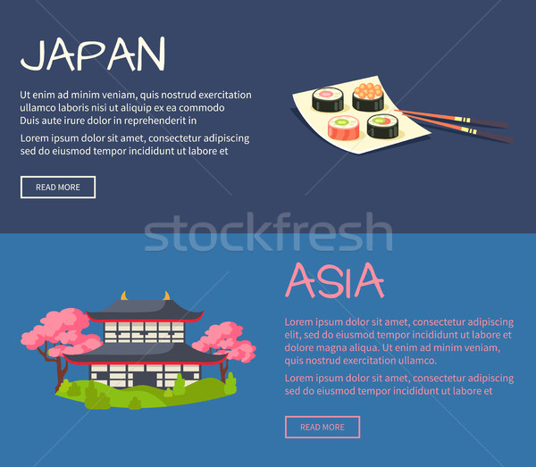 Set of Asia and Japan Flat Vector Web Banners Stock photo © robuart
