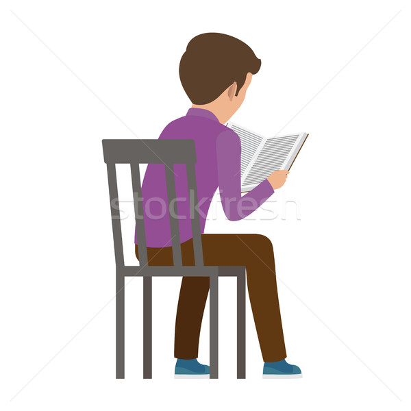 Boy Spends Time by Reading Book View from Back Stock photo © robuart