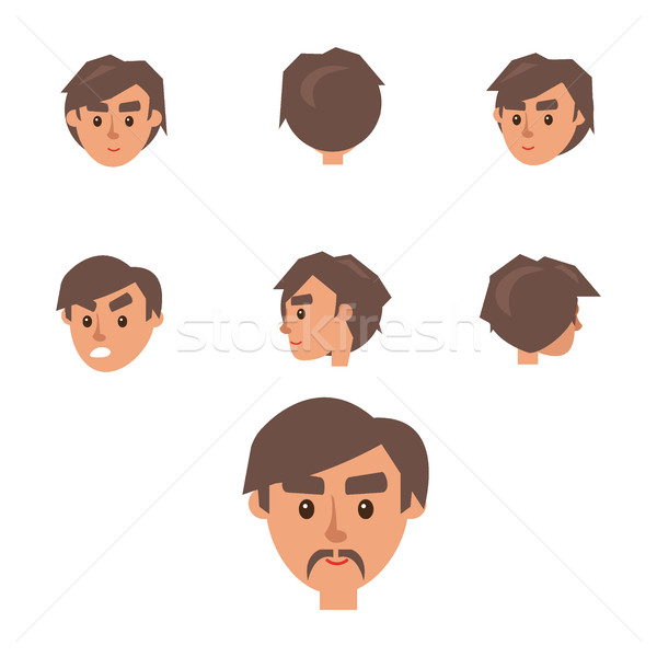 Man Constructor. Seven Males Heads Collection Stock photo © robuart