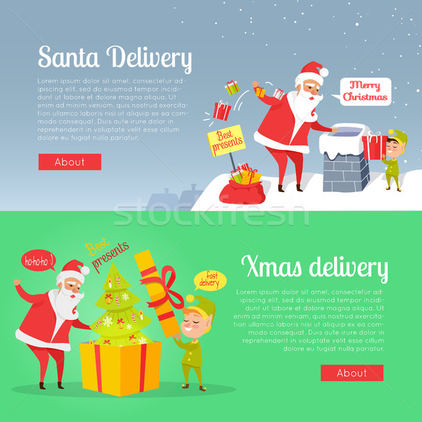 Best Presents of Santa Xmas Delivery on Postcard Stock photo © robuart