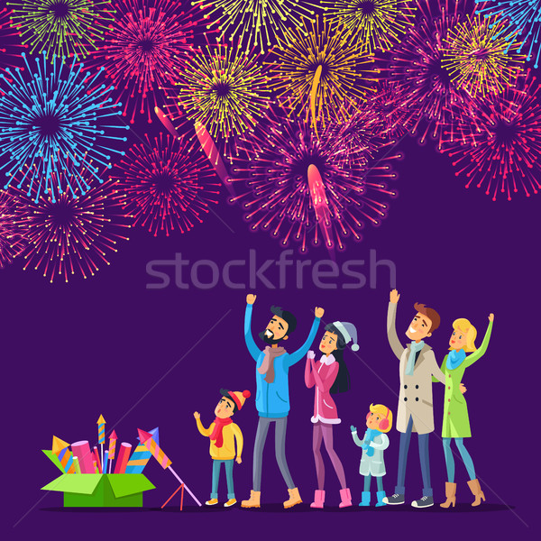 Fireworks. Adults and Children Watching Salutes Stock photo © robuart