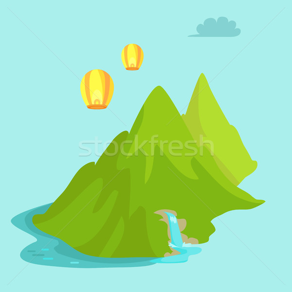 Maokong Mountain in Taiwan and Chinese Lights Fly Stock photo © robuart