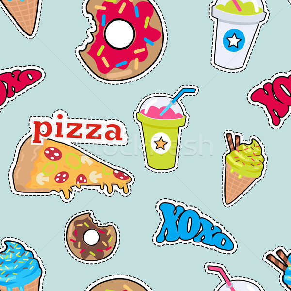 Pizza donut cocktail smoothie ijs Stockfoto © robuart