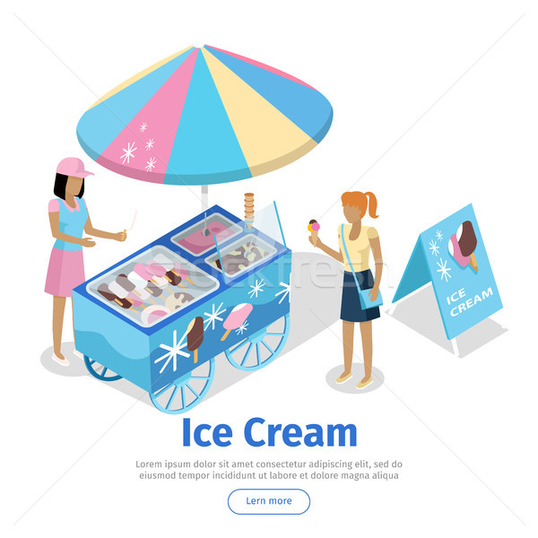 Ice Cream Trolley in Isometric Projection. Vector Stock photo © robuart
