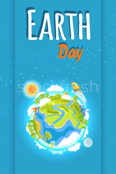 Föld napja ünnep poszter bolygó illusztráció promóciós Stock fotó © robuart