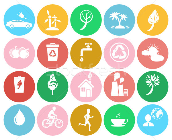 Ecological Colorful Labels Collection on White Stock photo © robuart