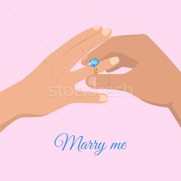 Proposal from Young Man Marry Me Cartoon Drawing Stock photo © robuart