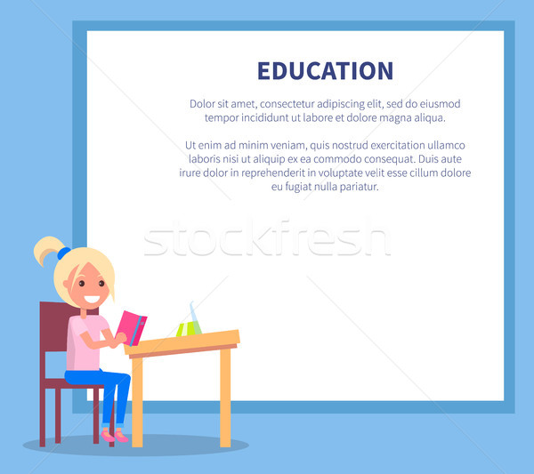 Education Poster with Profile of Smiling Girl Stock photo © robuart