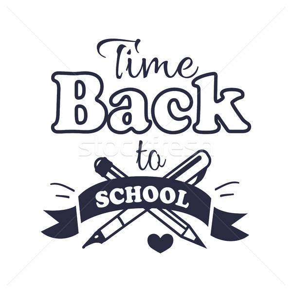 Powrót do szkoły czasu naklejki tekst biały napis Zdjęcia stock © robuart