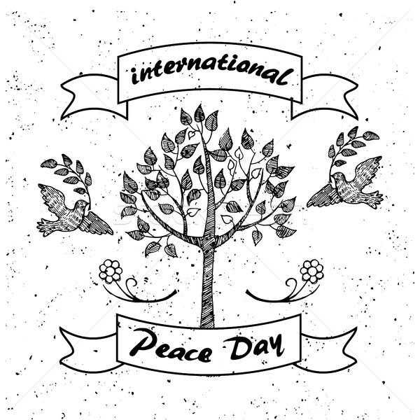Nemzetközi nap béke promóciós poszter izolált Stock fotó © robuart