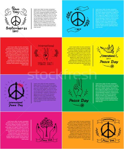 Stock fotó: Szett · plakátok · nemzetközi · béke · nap · vektor